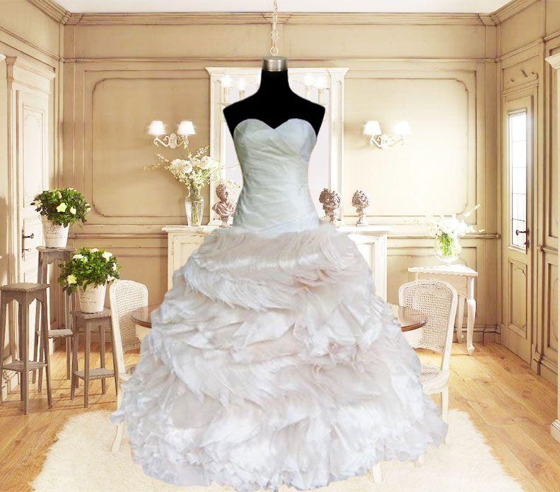Cream Beige Champagne Ball Gown Organza Sweetheart