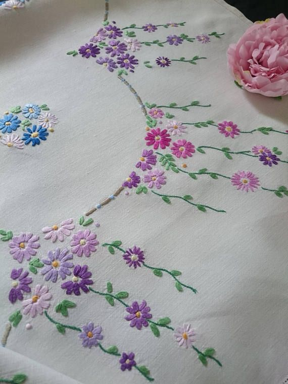 Vintage Hand Embroidery Picture Embroidery Linens & Textiles (pre-1930)