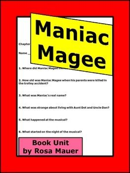 Maniac Magee Novel Study and Activities with Answer Key ...