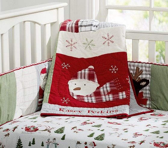 If Nolan could talk, he would tell me he needed this Christmas bedding, I just know it!  Dear Santa Nursery Bedding | Pottery Barn Kids