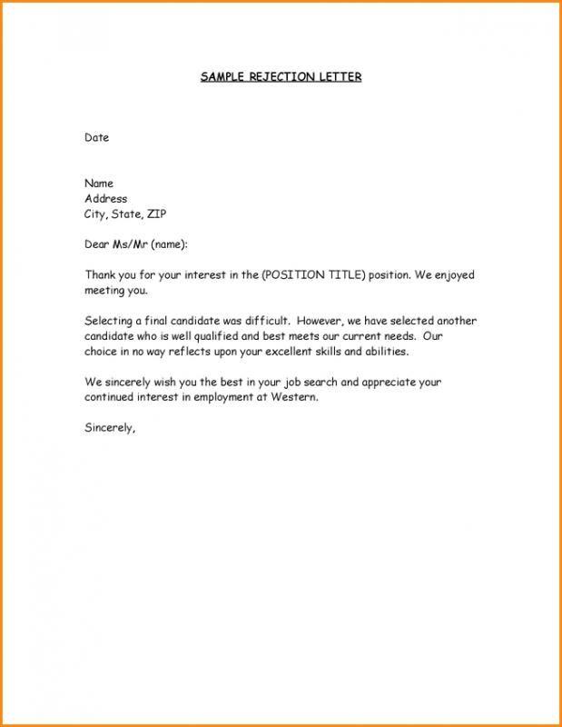 Job Offer Rejection Letter template Pinterest