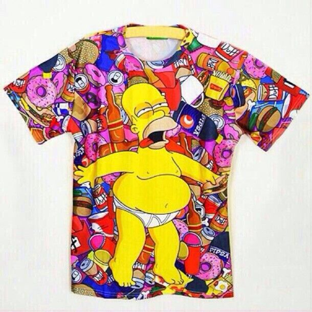 975767c24c homer simpson donut funny pink shirt colorful trippy the simpsons 3d print  donut drunk