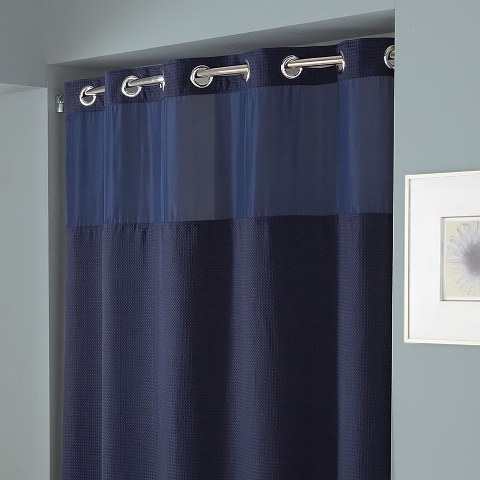 Hookless Waffle 54 X 80 Stall Fabric Shower Curtain In Navy