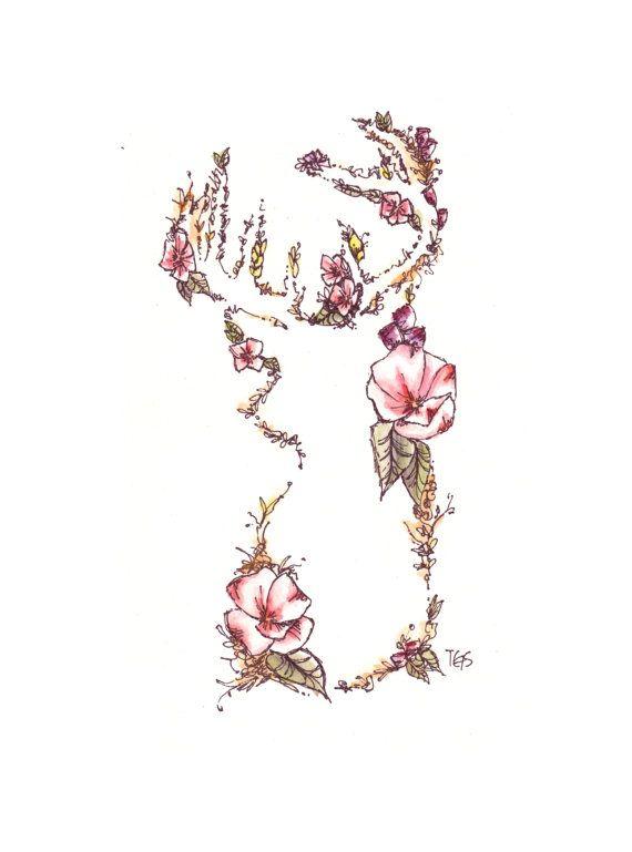 Floral Antler Tattoo: Deer Friend - Woodland Watercolor Print - 5 X 7