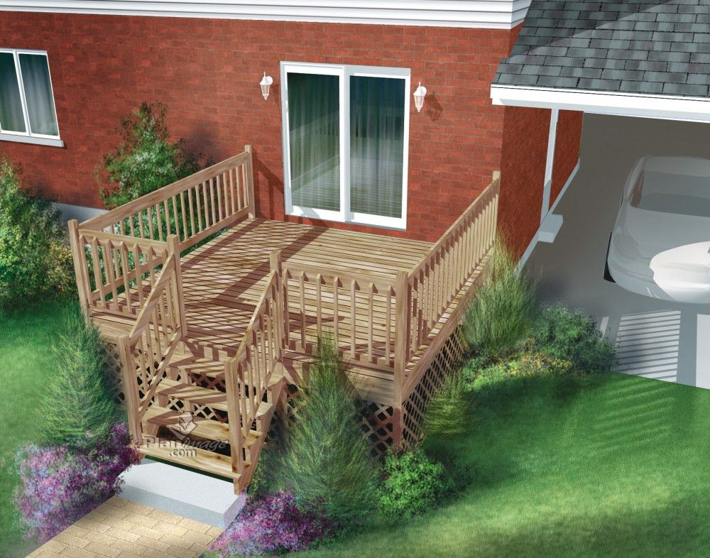 facile construire cette terrasse en bois palier unique est sur lev e et ancr e l 39 arri re. Black Bedroom Furniture Sets. Home Design Ideas