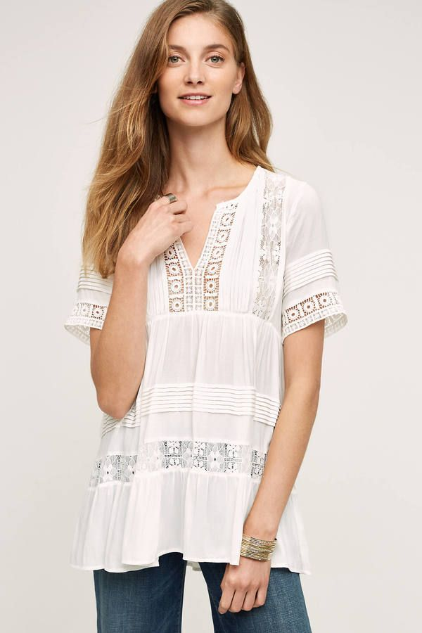 6bb7c434d1a7 White lace boho top. Maeve Tiered Lace Tunic | Tops in 2019 | Lace ...