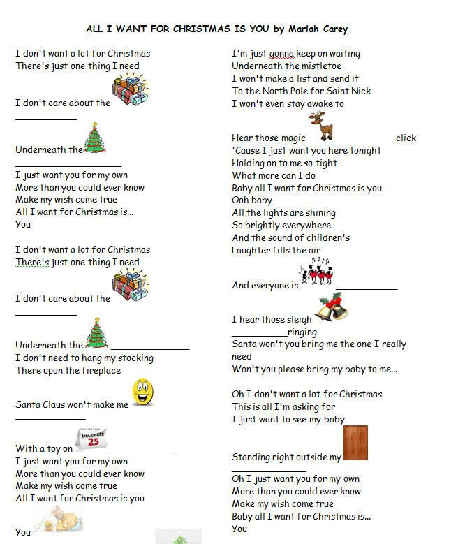 Song Worksheet All I Want For Christmas By Mariah Carey With Video Xmas Songs Xmas Songs Lyrics Songs