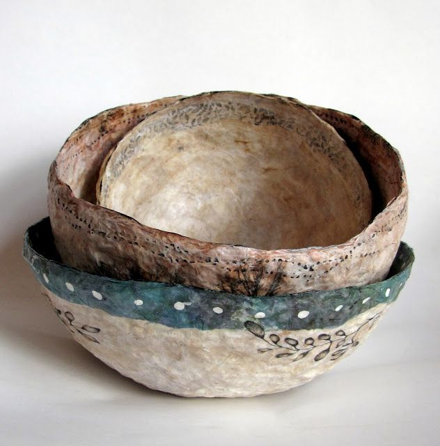 Art bowl using tea bag papers etc kim henkle love her for Egg carton paper mache pulp