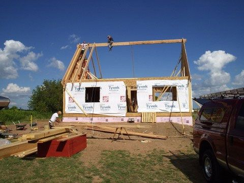 House With 12 12 Pitch Roof Here Are Some Pictures From The Roof Framing Dormer Framing And Building A House Roof Framing Small House