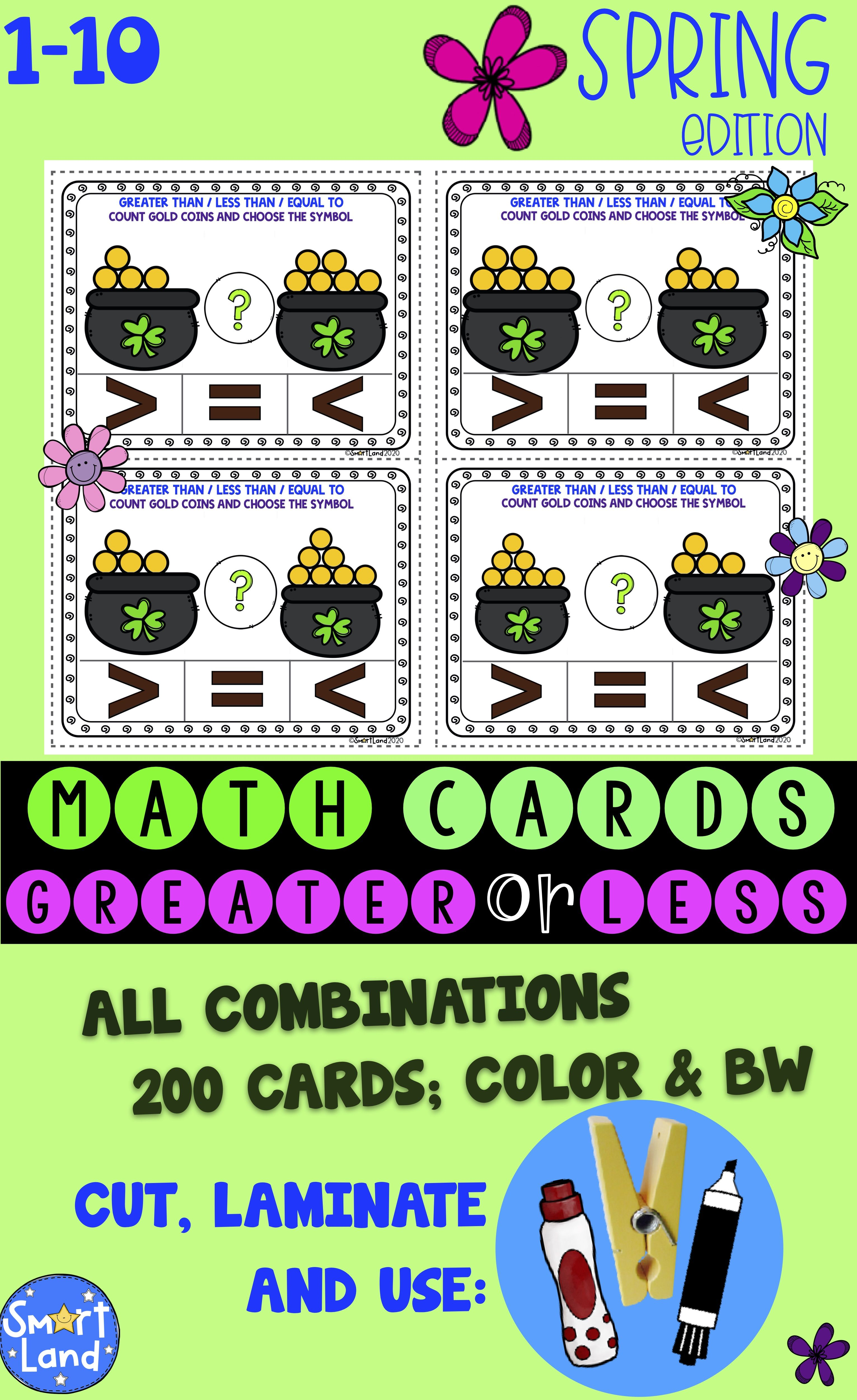 Math Cards Greater Less Gold Spring
