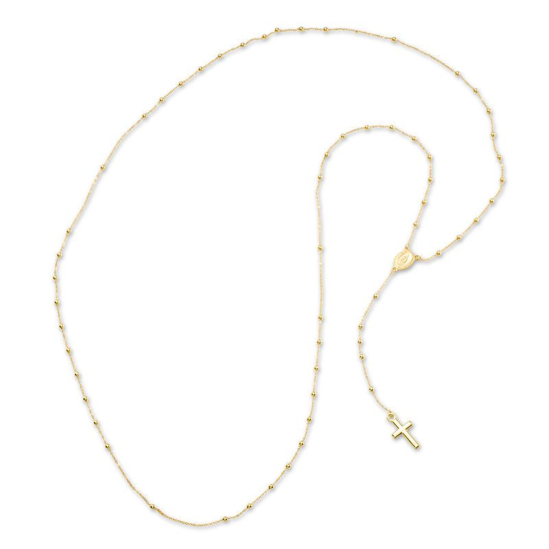 1 8mm Rosary Bead Necklace In 10k Gold 26 Piercing Pagoda Gold Rosary Necklace Rosary Beads Gold Rosary