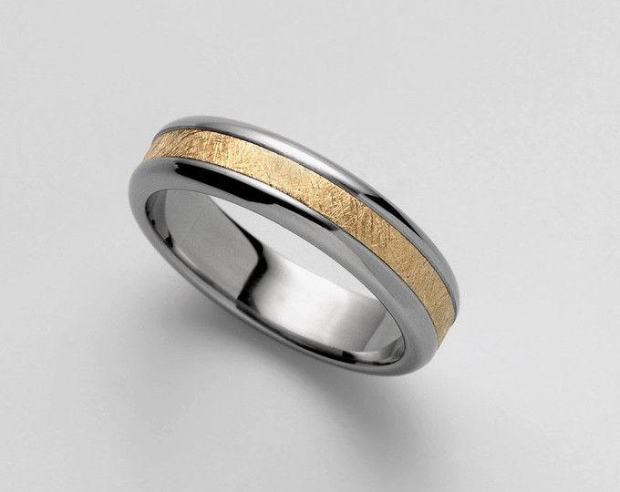 0301b38488e24d Mens Gold Wedding Band | Mixed metal wedding ring, Cool 18k gold &  stainless steel, brushed gold band, guys gold ring size 11