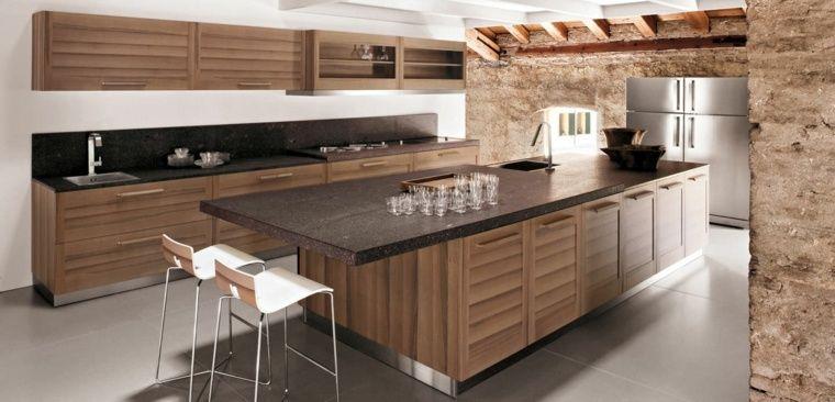 plan de travail cuisine moderne en pierre et bois   kitchen