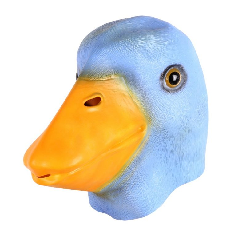 Deluxe Novelty Latex Rubber Creepy Funny Duck Head Mask Halloween Fancy Dress Party Costume Decorations Yellow