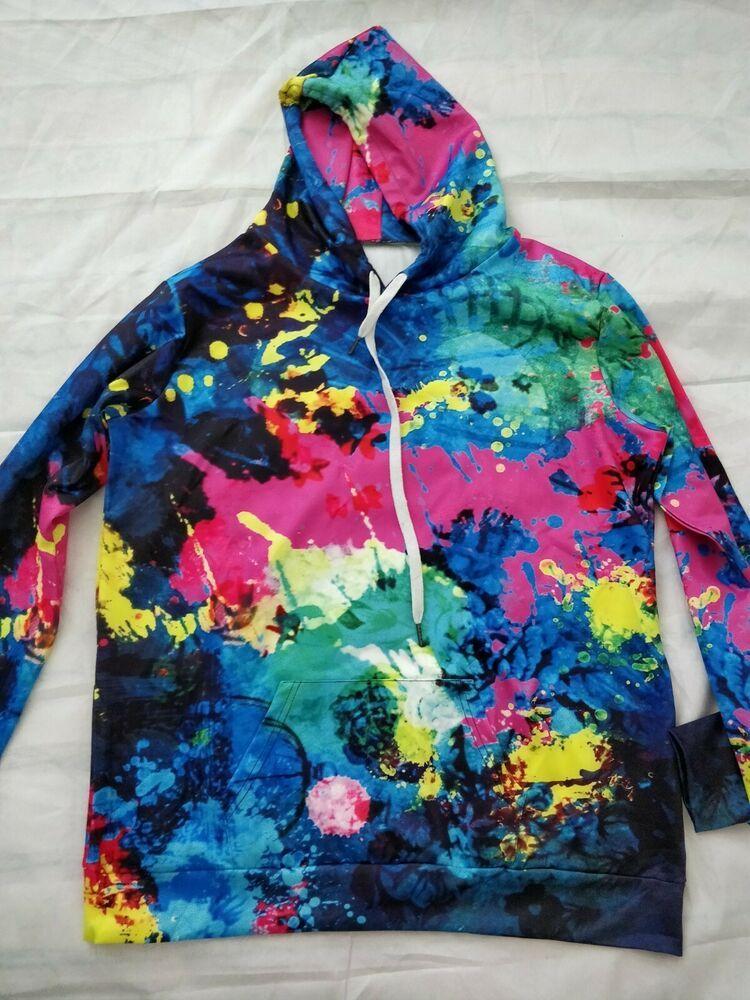 Details about tie dye multicolor hoodies adult xxxl