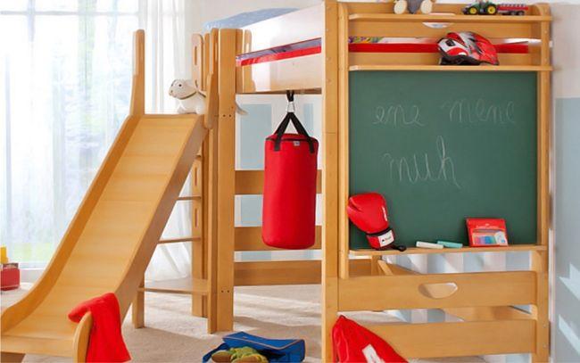 Hochbett Für Kinder Mit Rutsche Varietta Paidi Tafel Abenteuerbett Box