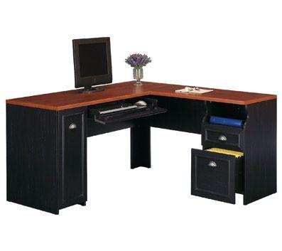 Bush Furniture Fairview L Shaped Desk Antique Black Hansen Cherry