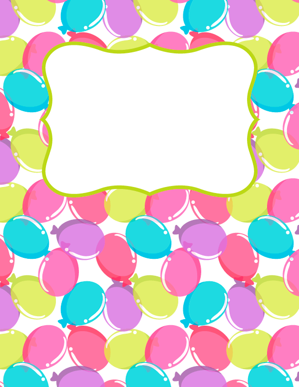 Free Printable Balloon Binder Cover Template Download The Cover
