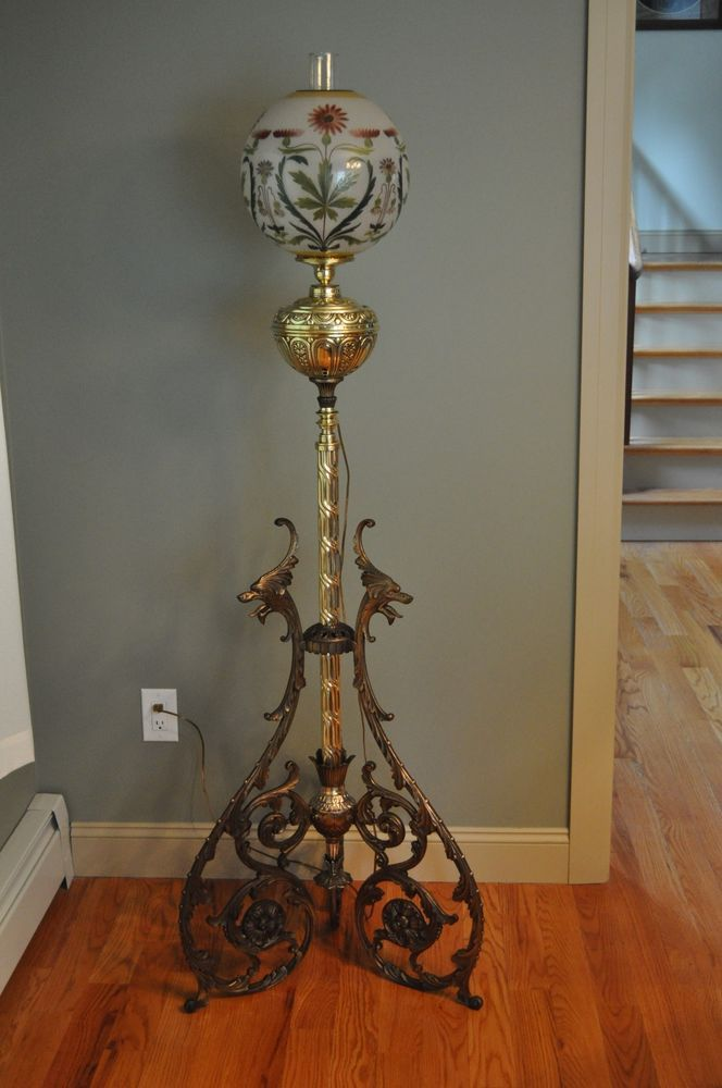 Magnificent Victorian Piano Floor Lamp With Dragons Handel Shade