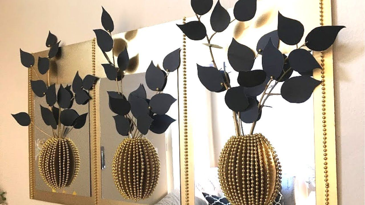 Diy mirror decor with d decorative flowers and vase using dollar