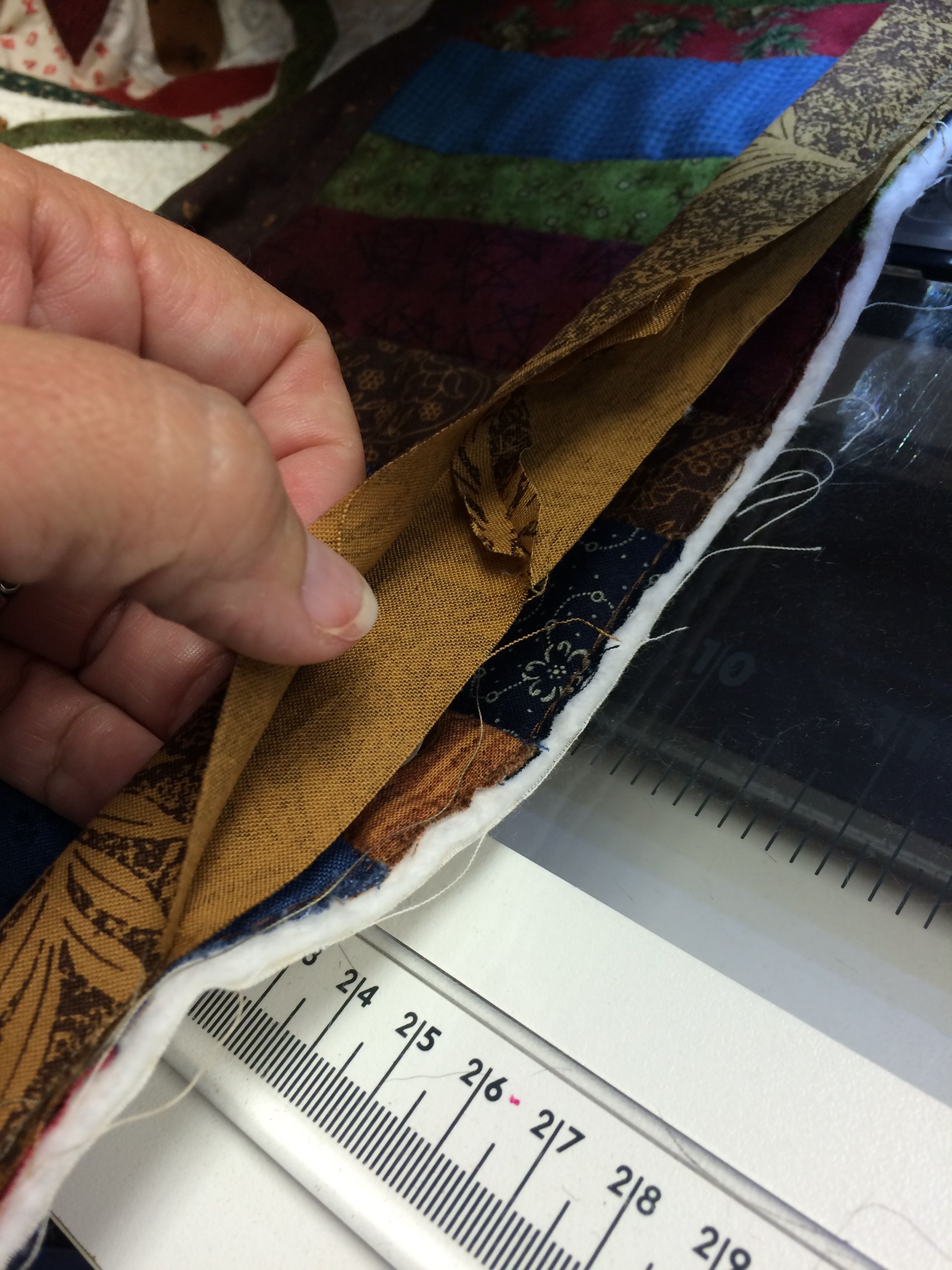 binding tails sewn together