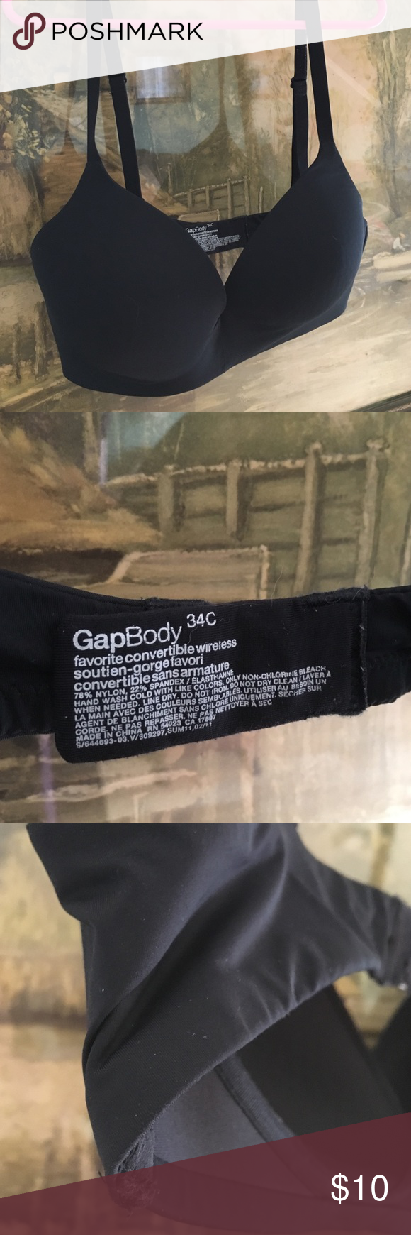 GAP Body  34C Tee Perfect! Has been worn  & shows a bit of wear on edges - but hooks & elastic in good condition- Convertible Wireless - Soft cups- Side boning - Jet black GAP Intimates & Sleepwear Bras