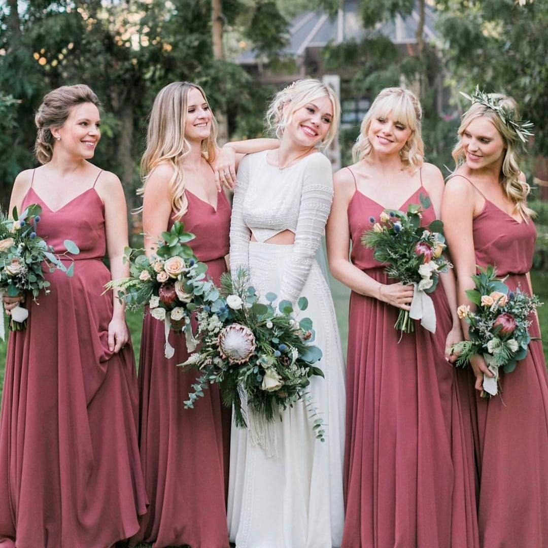 Swoon! Beautiful Blushing Bride With Her Bridesmaids In