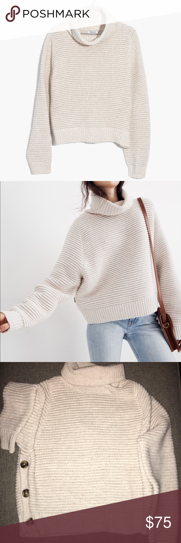 2223d6d6f5f MADEWELL Side-Button Turtleneck Sweater Color is Heather Oak Madewell  Sweaters Cowl   Turtlenecks