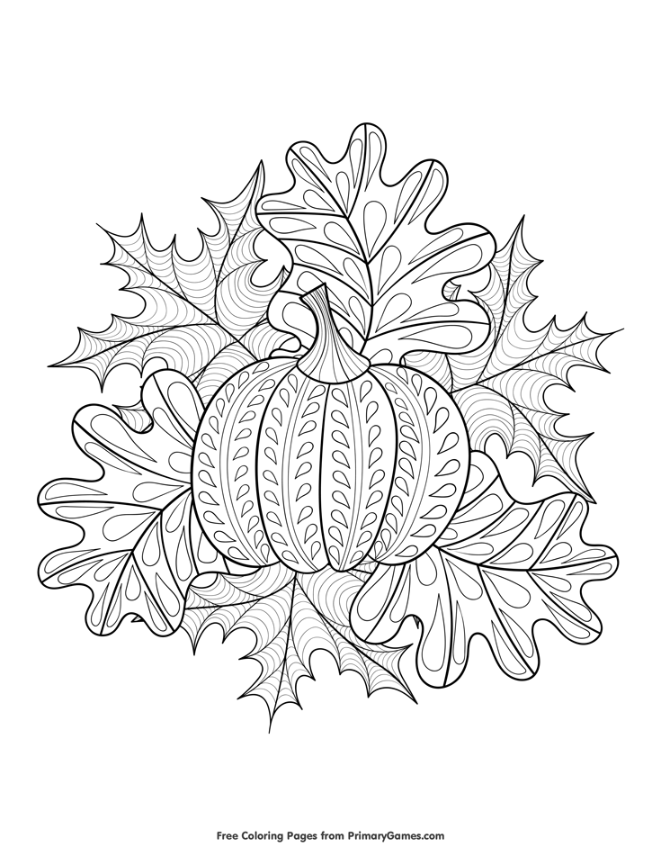 halloween coloring page pumpkin and fall leaves