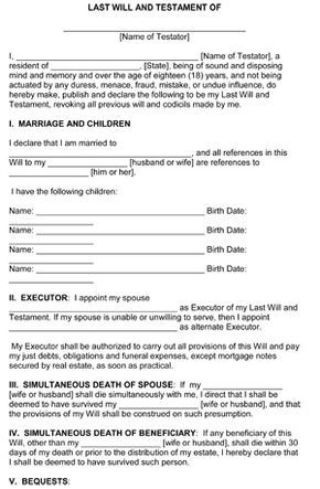 Last Will and Testament Template - Free Printable Form 8ws - last will and testament form