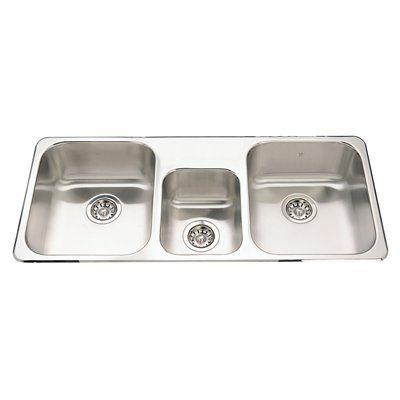 Kindred Kitchen Sink QTCM1841/8 Steel Queen Topmount 41.63-in Triple ...