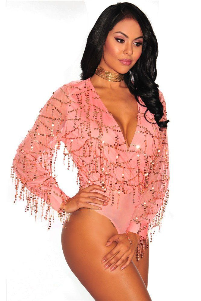 Pink Flowing Sequins Deep V Long Sleeves Bodysuit  Bodysuits ... 21d7987b5