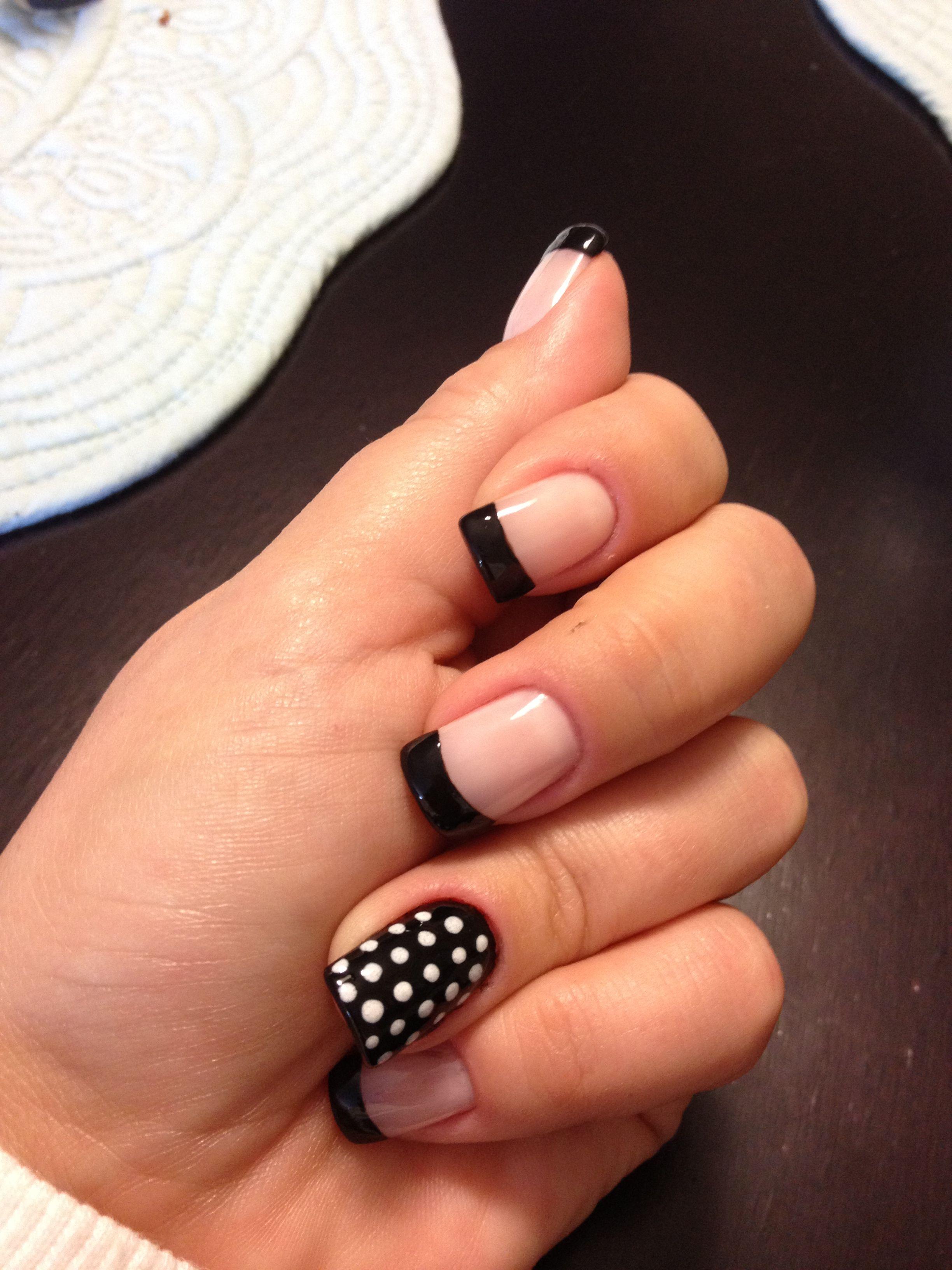 Black Tip FrenchManicure w/ Poka dot Accent Nail! | Nail ideas ...