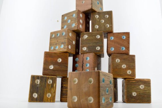 Lawn dice / yard dice. Wood / timber giant dice by WhoTheDickens