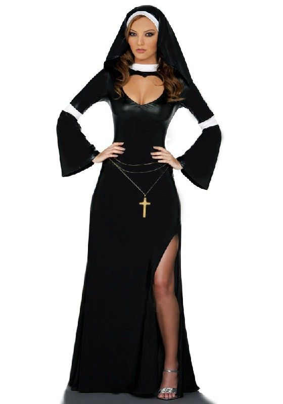 Nun Women Ladies Fancy Dress Party Black White Costume Role play For Halloween  Carnival Christmas Cosplay Costumes af46152310fb
