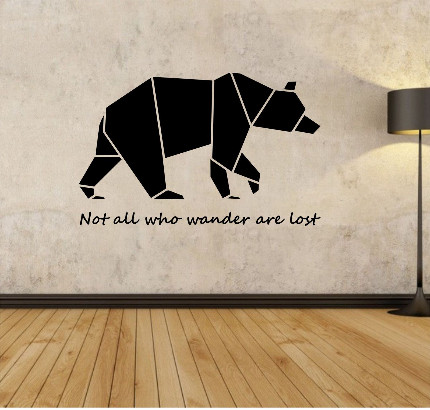 origami bear wall decal not all who wander are lost sticker art decor bedroom design mural. Black Bedroom Furniture Sets. Home Design Ideas