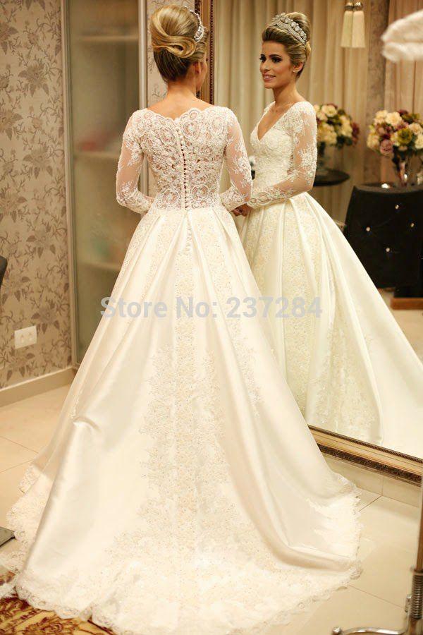 52d9513c3c2 Aliexpress.com  Compre Vestido de noiva manga longa de renda 2015 vestido  noiva casamento V Neck frisada Lace vestidos de casamento mangas compridas  ...