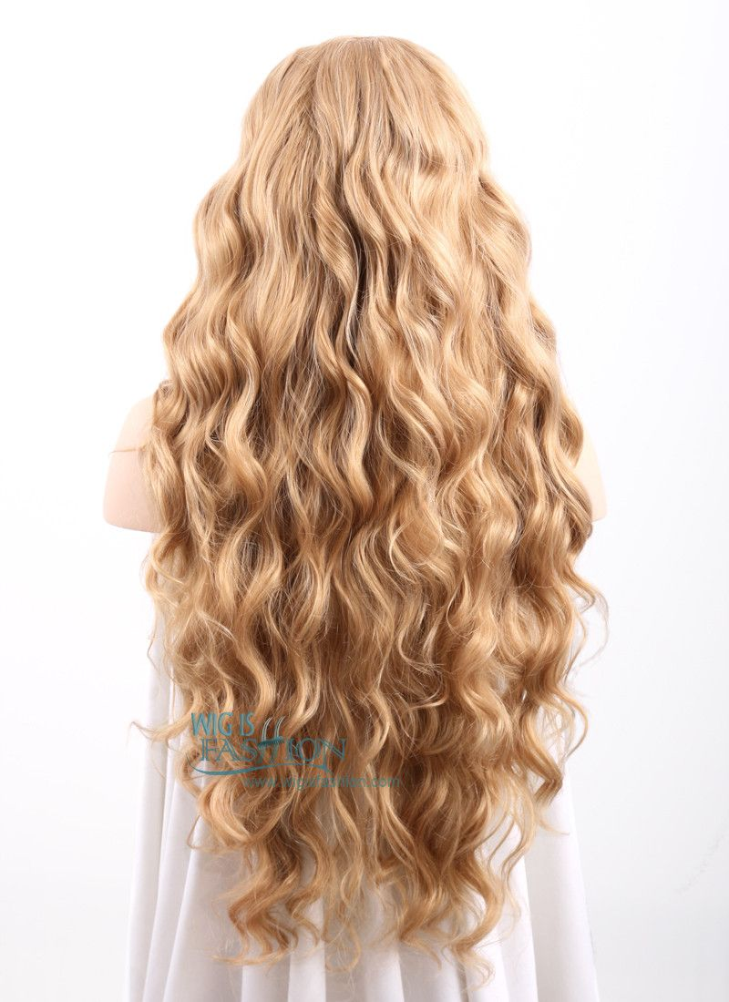 Wavy Golden Blonde Lace Front Synthetic Wig Lf244 Burgundy Hair Blonde Hair Looks Long Hair Styles