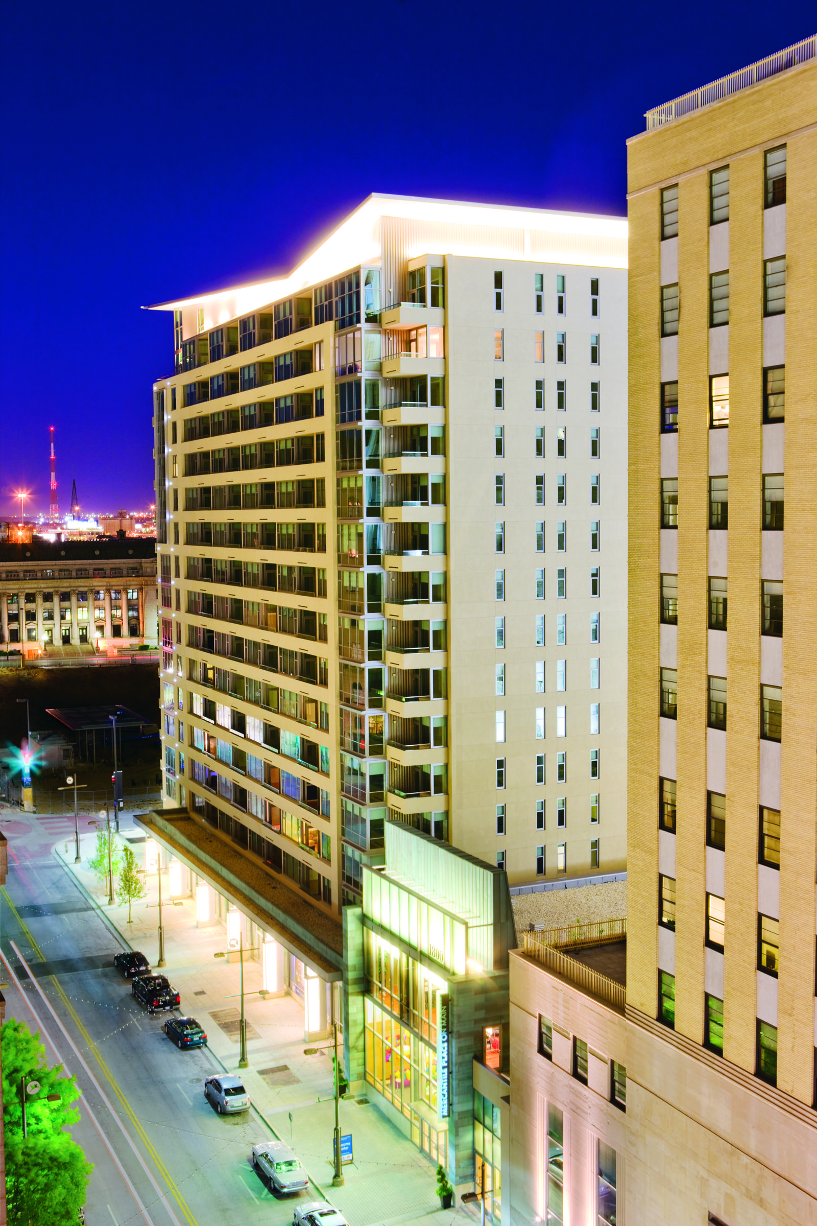 The Element At Mercantile Place At Night Apartments Dallas Architecture Dallas Apartment Apartments For Rent Apartment