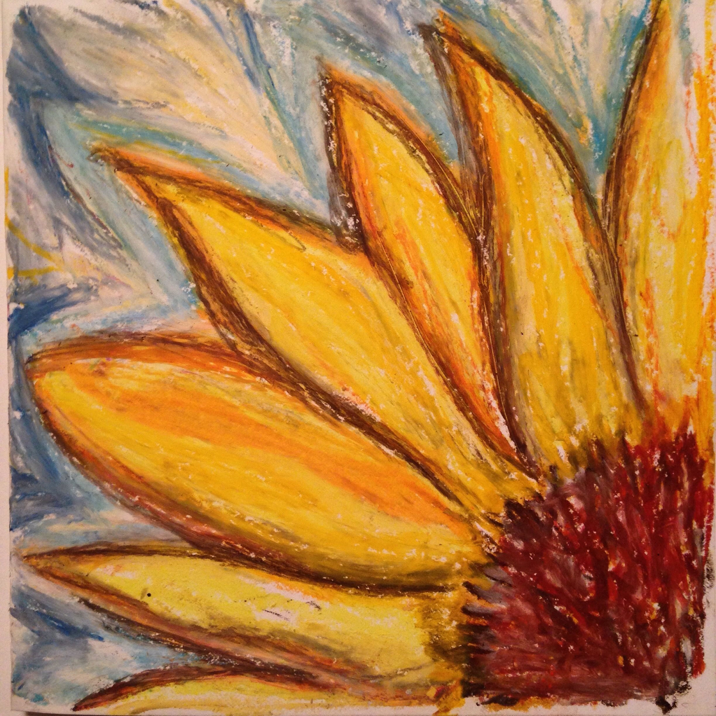 Sunflower abstract oil pastel drawing by onny artbyonny