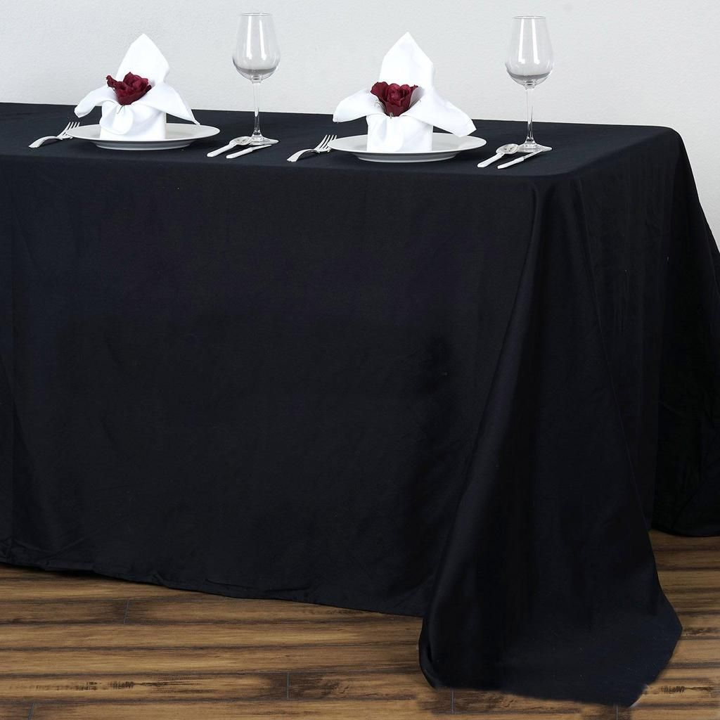 90x132 Black Rectangle Chambury Casa 100 Cotton Tablecloth With Images Cotton Tablecloths Table Cloth