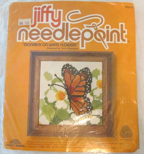 Sunset Designs Jiffy Needlepoint Canvas Monarch On White Flowers Butterfly Kit