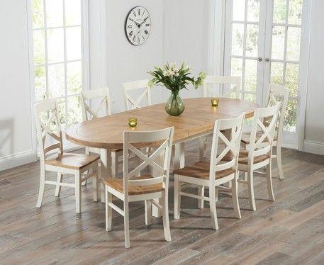 Oak Cream Extending Dining Table