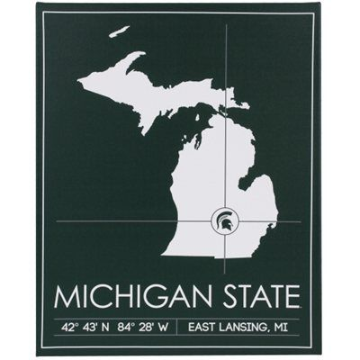 Michigan State Spartans 20 X 25 University Map Canvas Wall Art Michigan State University Michigan State Michigan