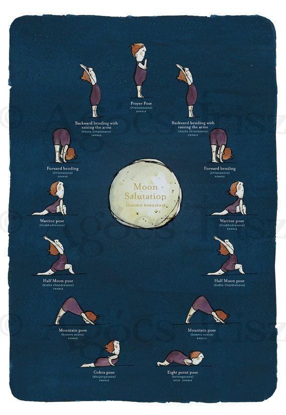 Moon Salutation - Yoga Poster by Irisz Agócs via Etsy