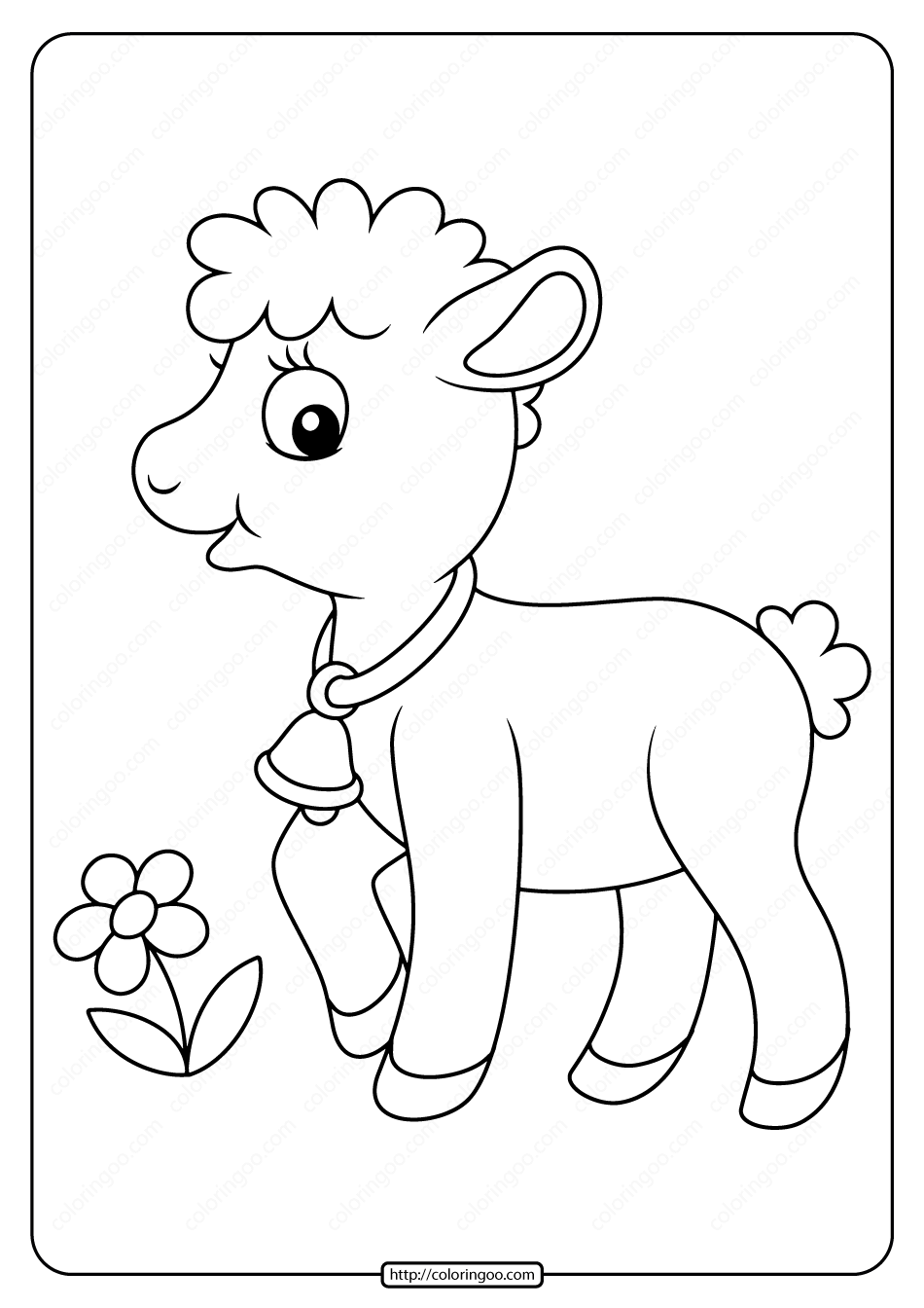 Printable Baby Lamb Pdf Coloring Page in 2020 | Farm ...