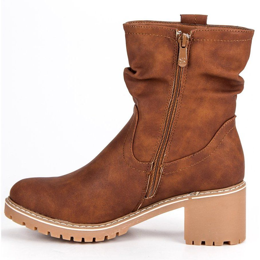 Jesienne Botki Damskie Brazowe Boots Biker Boot Cowboy Boots