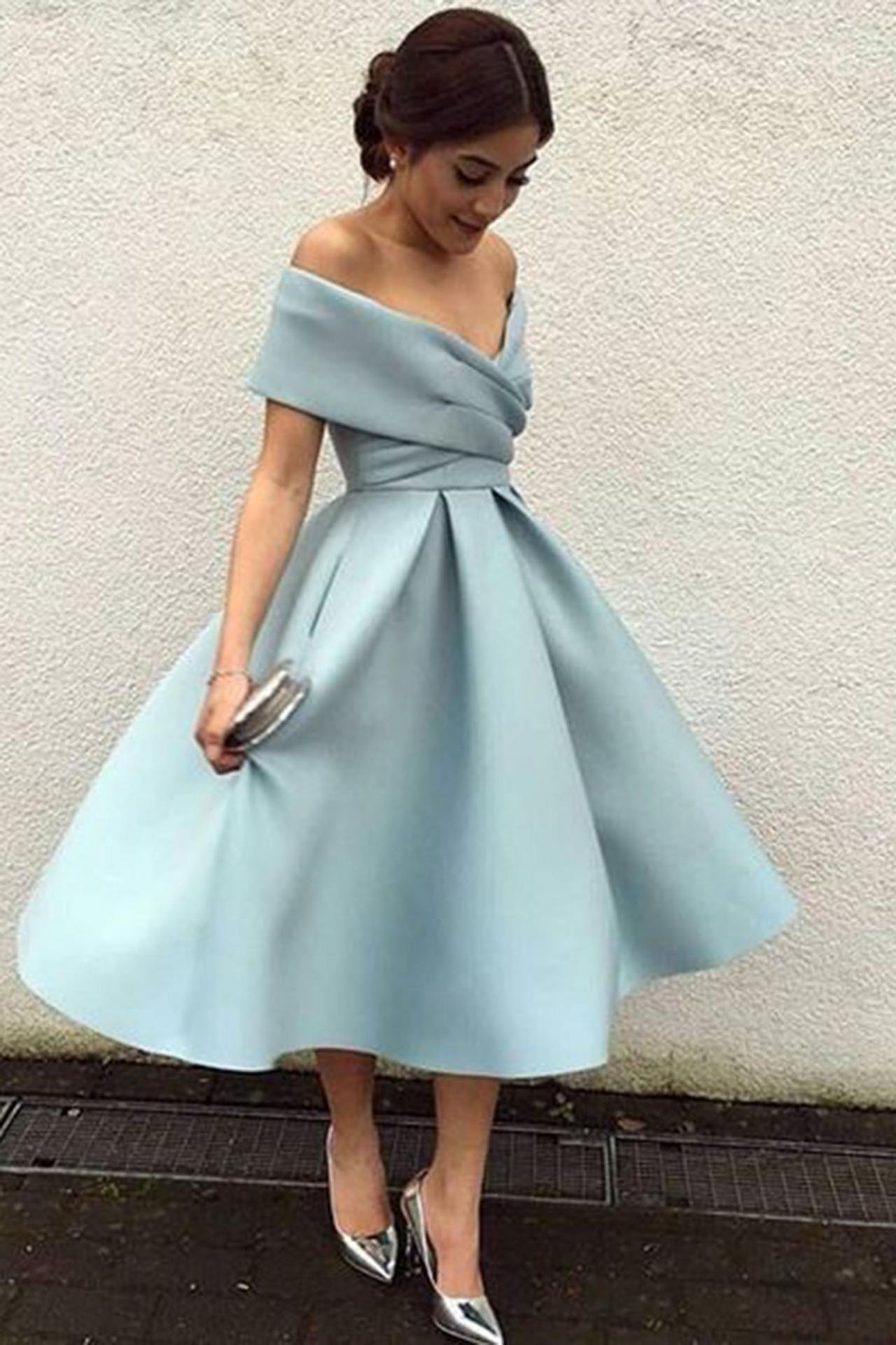 Light blue satin offshoulder aline kneelength dress formal dress