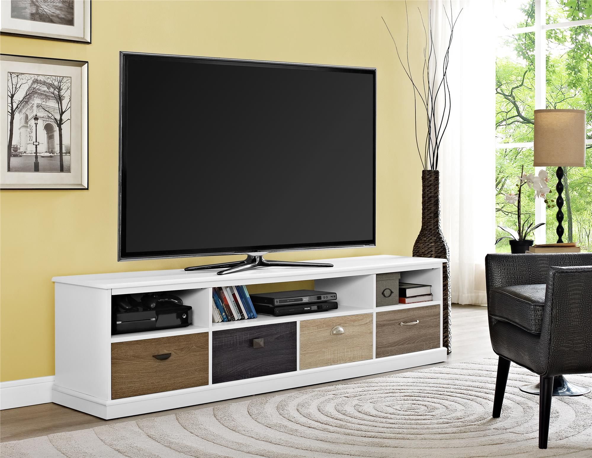 Spruce Up Your Living Room With The Altra Mercer 65 Tv Console With Multicolored Drawer Fronts Featuring 4 Drawers That Are Each Finishe Furniture Home Living Furniture
