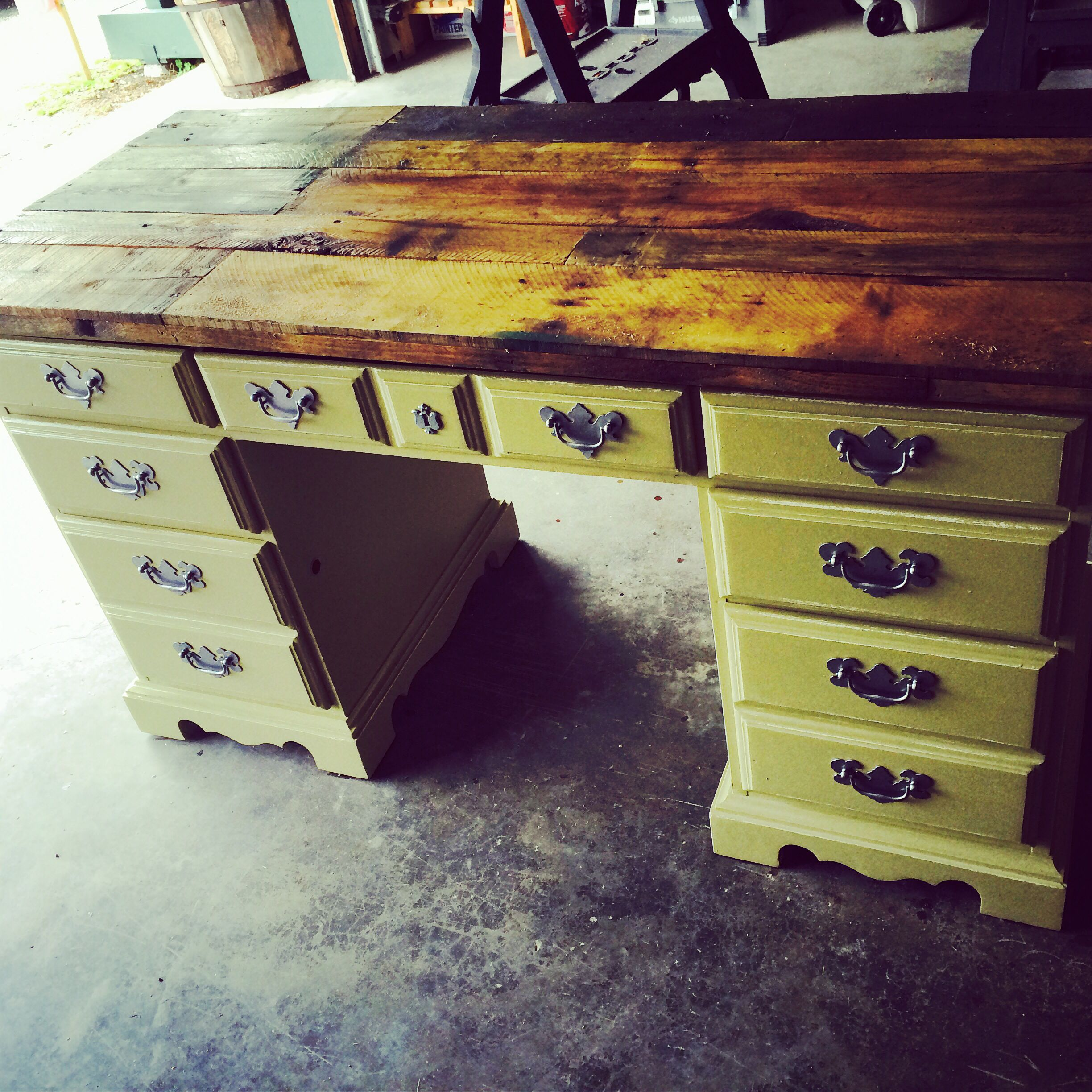 Old wooden desk that I painted, distressed, replaced the ...